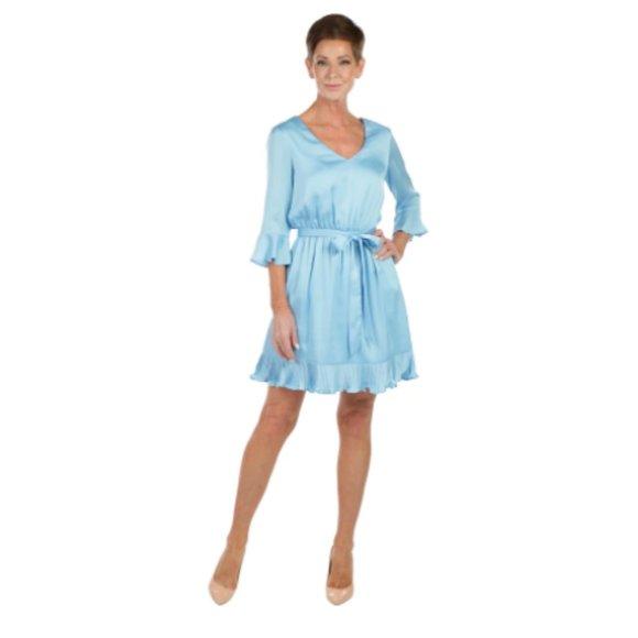 Bebe Womens 3/4 Sleeve Ruffle Hem Tie Waist Dress